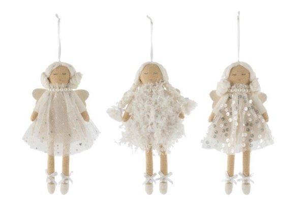 Angelitos navideños en forma de muñecas de tul color blanco par decoraciones navideñas y para todo el año