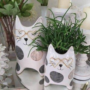 Macetas decorativas con forma de gato con gafas para plantas suculentas