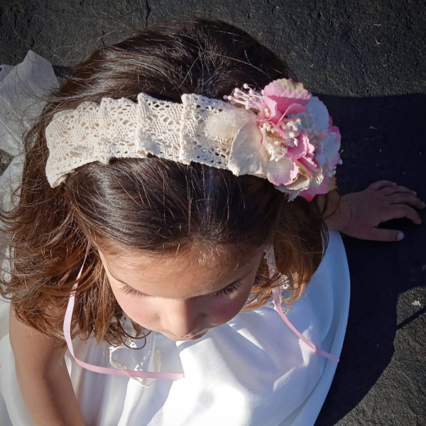 Diadema niña estilo vintage para ceremonia