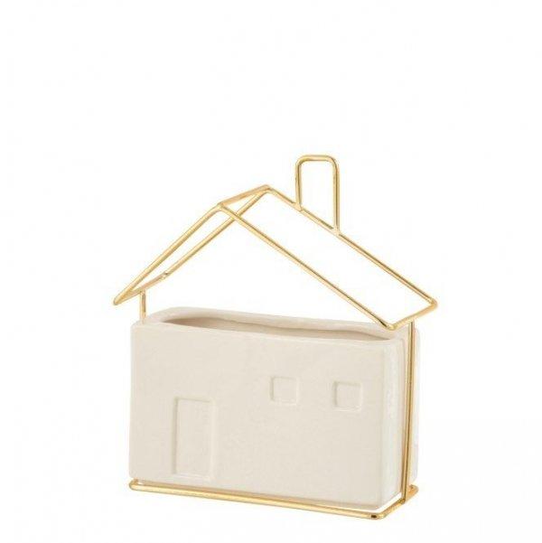 Maceta rectangular blanca de cerámica, tamaño mediano, con forma de casa y detalles geométricos de color dorado. Decoración nórdica y moderna.