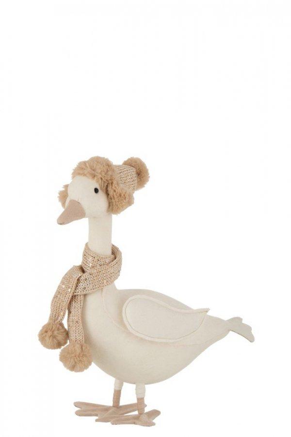 Pato decorativo con bufanda y gorrito de punto, para una decoración navideña nórdica