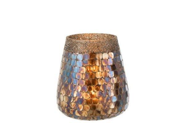 Portavelas decorativo con cristales de tonos gris perla iluminado con vela encendida, tamaño mediano