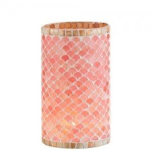 Portavelas de cristales de colores rosa beige, formando mosaico