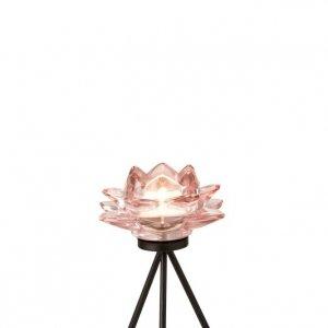 Portavelas candelabro de vidrio en forma de flor y pie de forja
