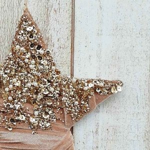 Adorno de Navidad colgante para puertas, paredes y ventanas en forma de Estrella, con terciopelo rosa viejo y lentejuelas. Precioso para decorar el árbol de Navidad