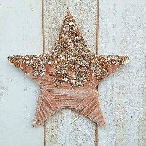 Adorno de Navidad para puertas y paredes, en forma de estrella brillante forrada en terciopelo rosa con lentejuelas y perlitas doradas