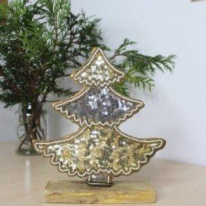 Árbol de Navidad de madera, tamaño pequeño, para colocar en mueble, mesa o estante.