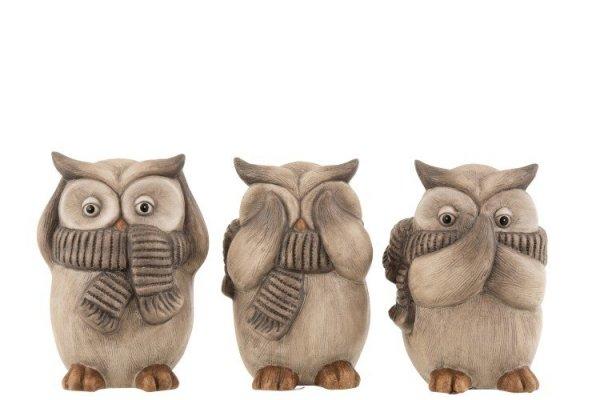 Búhos decorativos simpáticos de cerámica, perfectos para decoración ambientada en la naturaleza. Diferentes modelos.