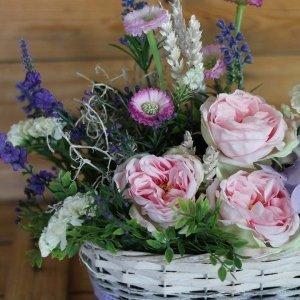 cesta primavera rosas inglesas de tela