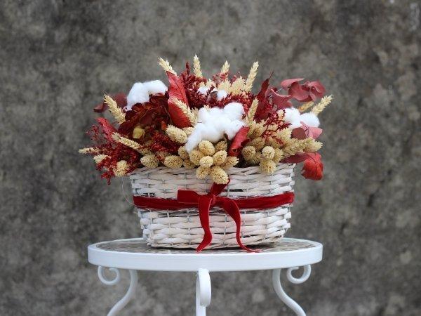 cesta de flores secas y preservadas otoño Montreal