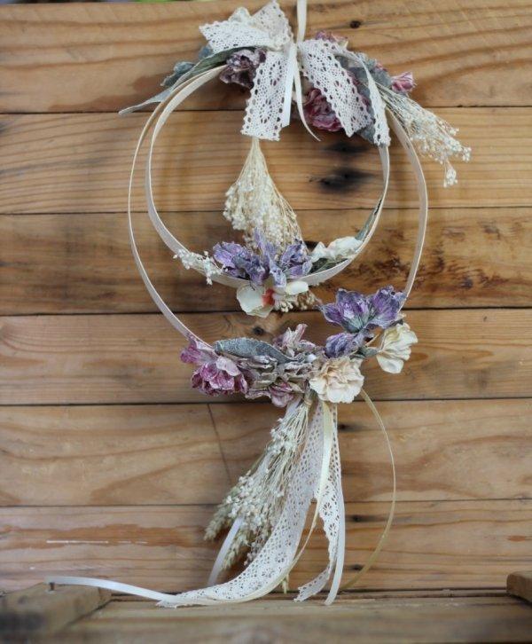 guirnalda ARMONIA de flores secas y de tela