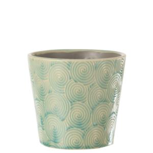 Maceta de cerámica con relieve de diseño elegante y color agua marina