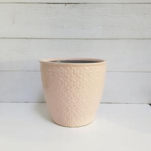 """Maceta de cerámica esmaltada en color rosa de estilo actual para un decoración muy femenina """"Shabby shic"""""""
