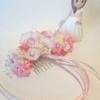 Mini tocado de niña en tonos rosas y beige