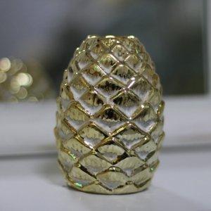 piña dorada portavelas