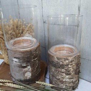 Portavelas tronco de madera para una decoración natural y sostenible