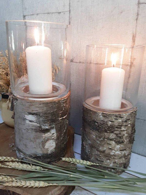 Portavelas tronco de madera con soporte de cristal para la vela