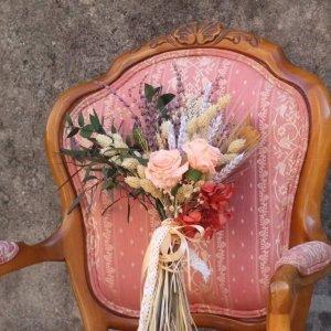 ramo de novia silvestre con trigos y lavanda