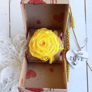 Rosa preservada amarilla que no se marchita