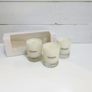 set 3 velas aromáticas con vaso de vidrio