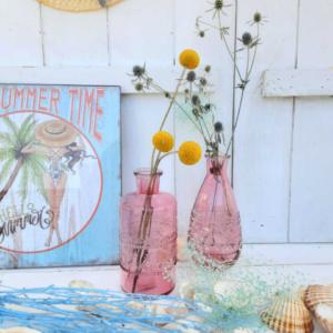 soliflores de vidrio tono rosado vintage
