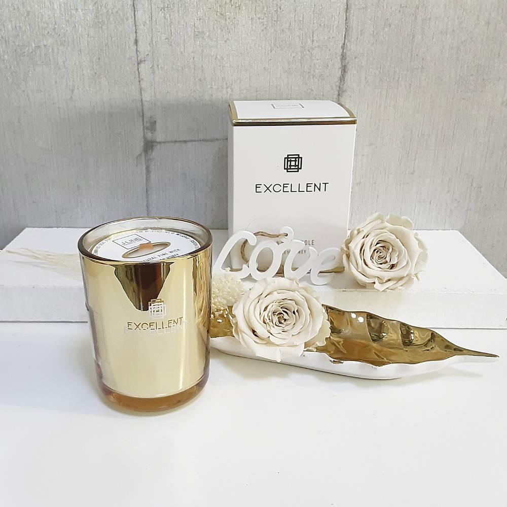 Vela elegante golden con caja de regalo