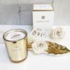 Vela elegante vaso dorado, muy bonita para decorar el salón y con caja elegante para regalar