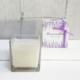 Vela en vaso cuadrado de vidrio transparente con caja bonita y lacito a tono para regalar