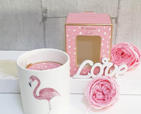 Vela perfumada en vaso de cerámica con ilustración de flamenco con bonita caja de regalo
